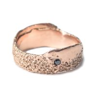 welfe jewellery found object eroded gold ring with black diamond