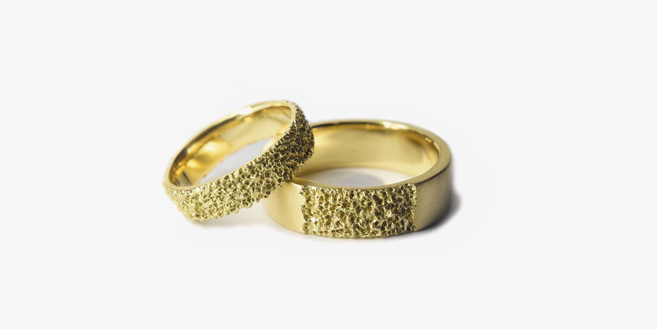 welfe jewellery eroded gold wedding rings