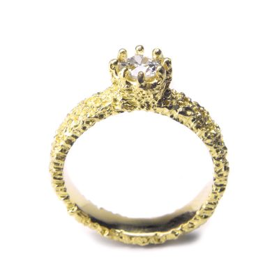 welfe jewellery lost crown eroded gold ring with white diamond