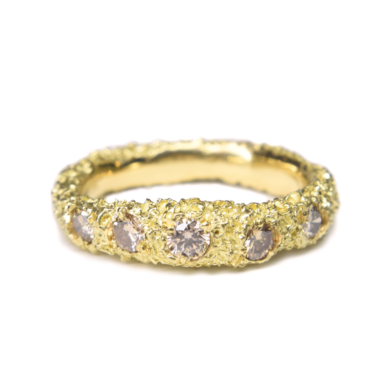 sunken stones eroded gold ring with champagne diamonds by welfe