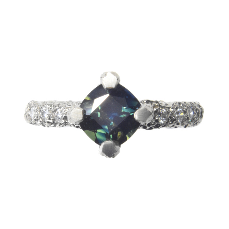 Australian Sapphire Engagement Ring in eroded 18ct white gold with diamonds by Welfe.