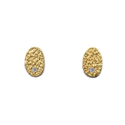 tiny droplet studs eroded 18ct gold with white diamonds