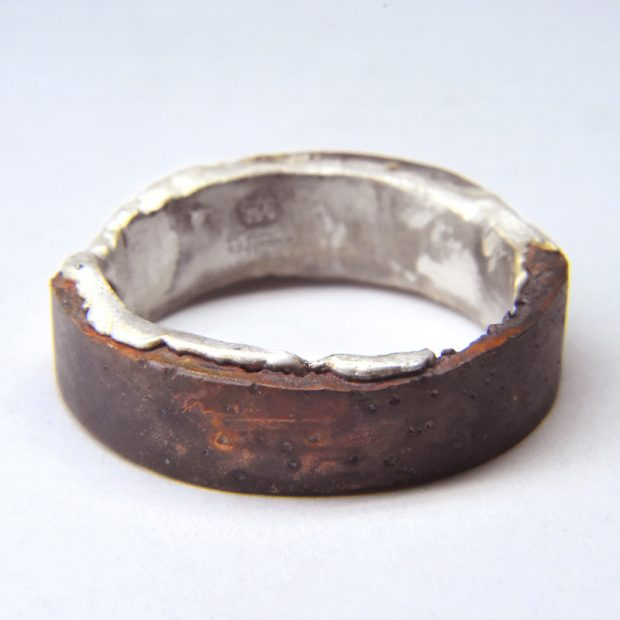 twice cast bronze and silver ring
