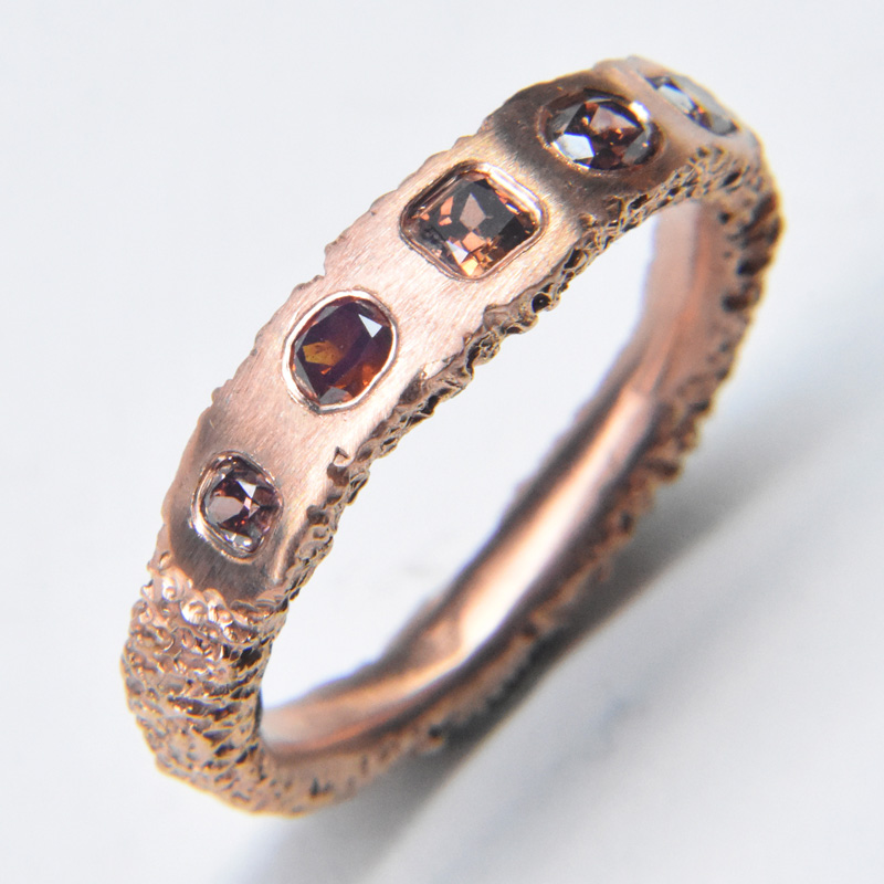 sliced diamond ring 18ct rose gold