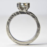 1.5ct smokey diamond set in 18ct white gold engagement ring
