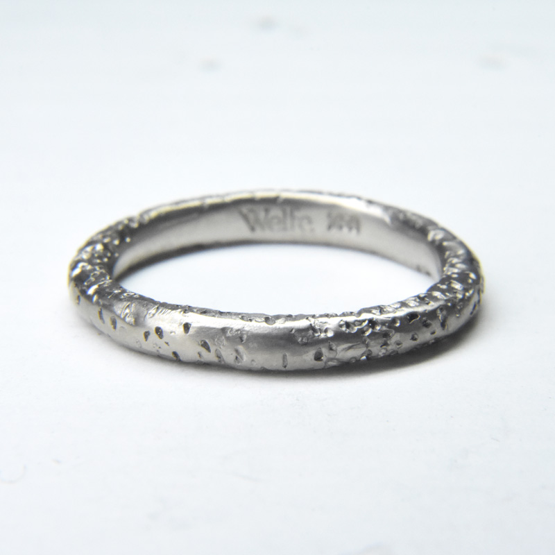 pitted staker ring in 18ct white gold