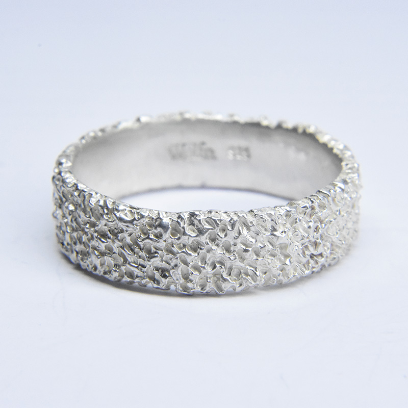 welfe jewellery jewelry textured sunken eroded 6mm wide silver ring